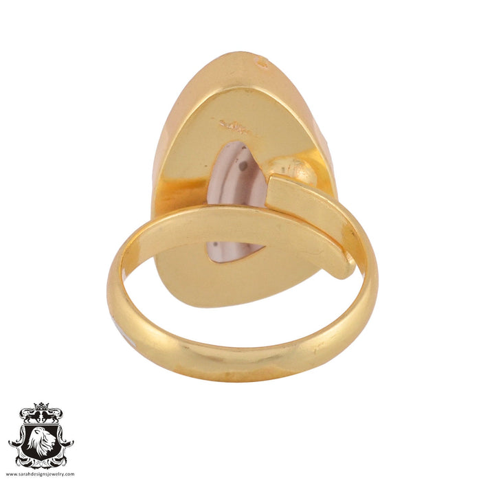 Size 9.5 - Size 11 Adjustable Banded Agate 24K Gold Plated Ring GPR979