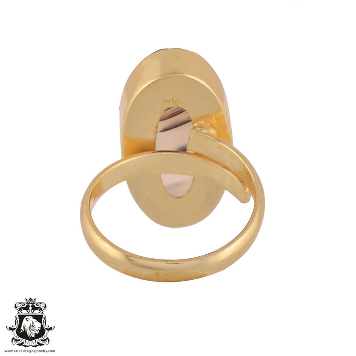 Size 9.5 - Size 11 Adjustable Scenic Agate 24K Gold Plated Ring GPR980