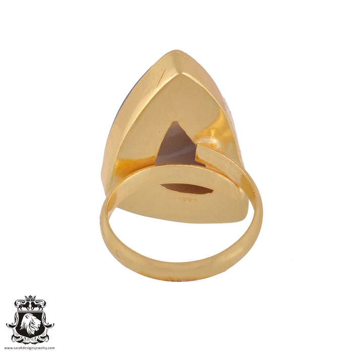 Size 9.5 - Size 11 Adjustable Banded Agate 24K Gold Plated Ring GPR981
