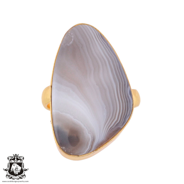 Size 7.5 - Size 9 Adjustable Banded Agate 24K Gold Plated Ring GPR984