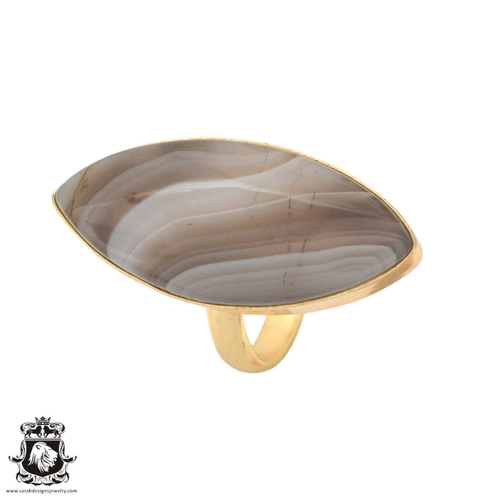 Size 6.5 - Size 8 Adjustable Banded Agate 24K Gold Plated Ring GPR987