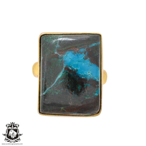 Size 6.5 - Size 8 Adjustable Azurite Malachite 24K Gold Plated Ring GPR1090
