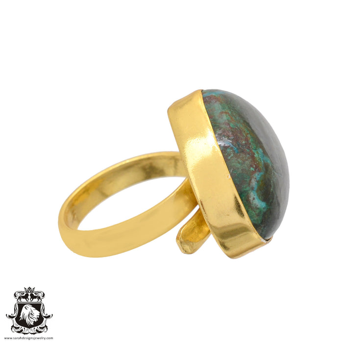 Size 6.5 - Size 8 Adjustable Shattuckite 24K Gold Plated Ring GPR1094