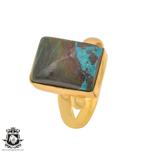 Size 10.5 - Size 12 Adjustable Azurite Malachite 24K Gold Plated Ring GPR1097