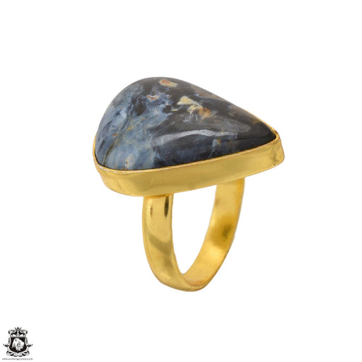 Size 9.5 - Size 11 Adjustable Pietersite 24K Gold Plated Ring GPR1626