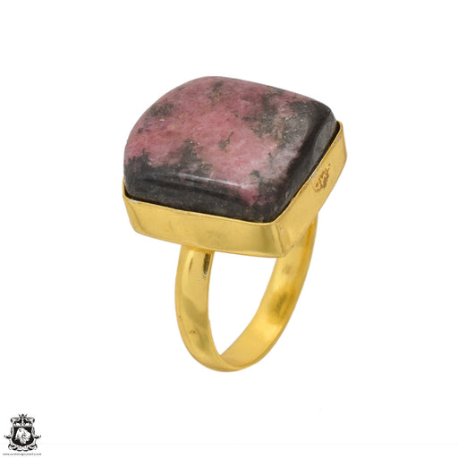 Size 9.5 - Size 11 Adjustable Rhodonite 24K Gold Plated Ring GPR1628