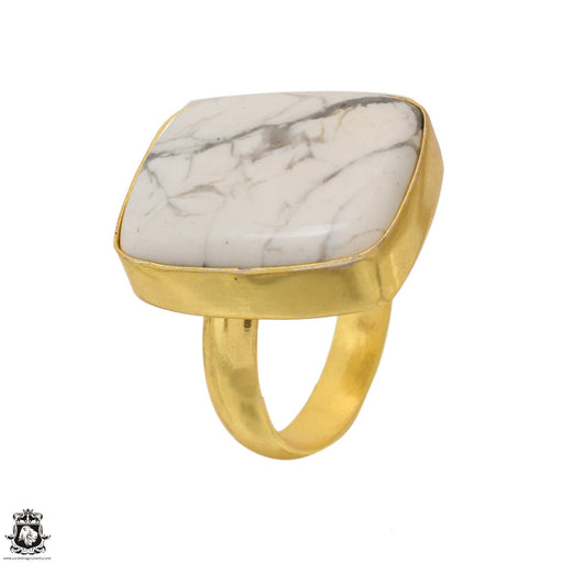 Size 8.5 - Size 10 Adjustable Howlite 24K Gold Plated Ring GPR1645