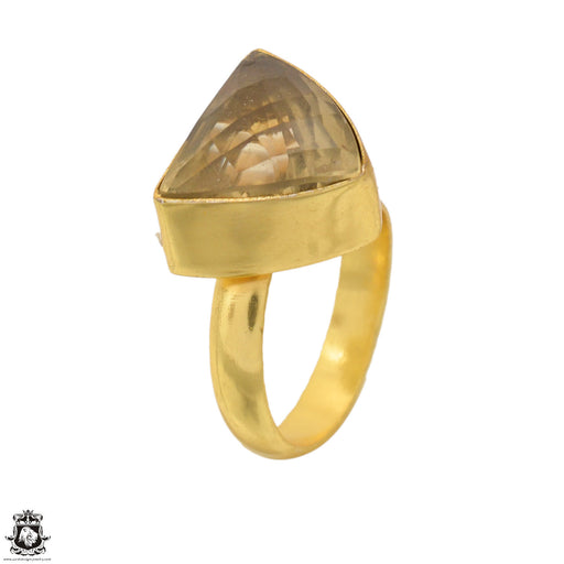 Size 6.5 - Size 8 Adjustable Rutile Quartz 24K Gold Plated Ring GPR1666