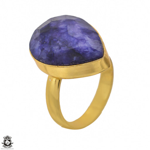 Size 9.5 - Size 11 Adjustable Sapphire 24K Gold Plated Ring GPR1405