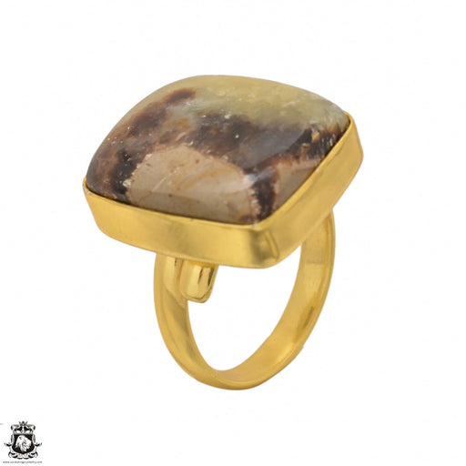 Size 8.5 - Size 10 Adjustable Septarian Dragon Stone 24K Gold Plated Ring GPR1419