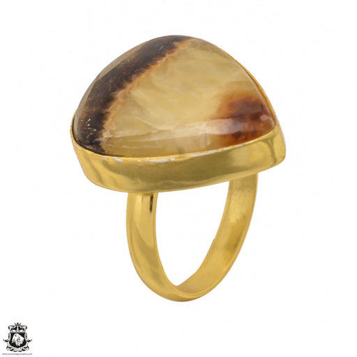 Size 8.5 - Size 10 Adjustable Septarian Dragon Stone 24K Gold Plated Ring GPR1425