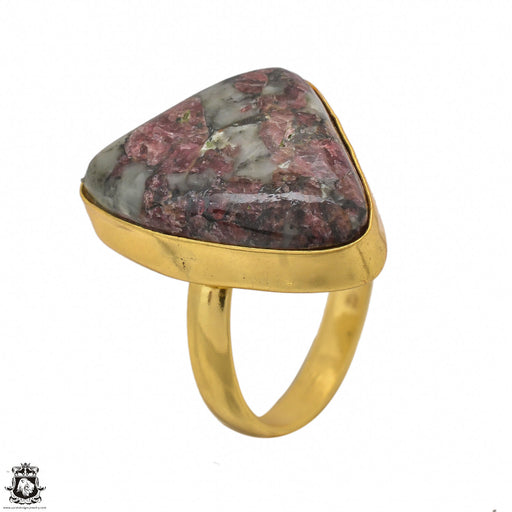 Size 8.5 - Size 10 Adjustable Eudialyte 24K Gold Plated Ring GPR1433