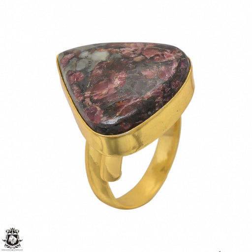 Size 9.5 - Size 11 Adjustable Eudialyte 24K Gold Plated Ring GPR1435