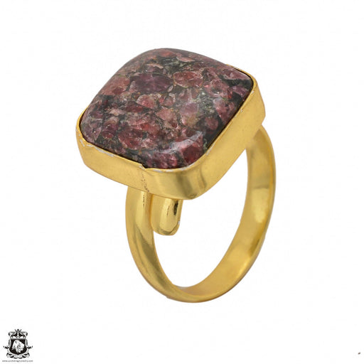 Size 9.5 - Size 11 Adjustable Eudialyte 24K Gold Plated Ring GPR1439