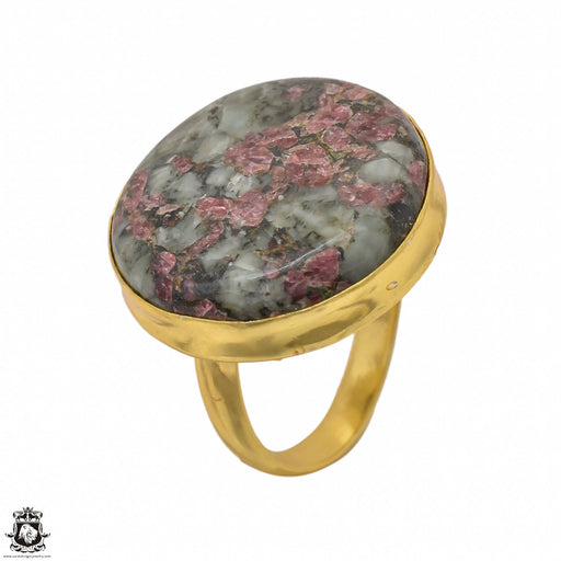 Size 9.5 - Size 11 Adjustable Eudialyte 24K Gold Plated Ring GPR1440