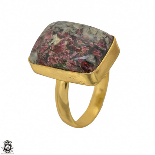 Size 8.5 - Size 10 Adjustable Eudialyte 24K Gold Plated Ring GPR1443
