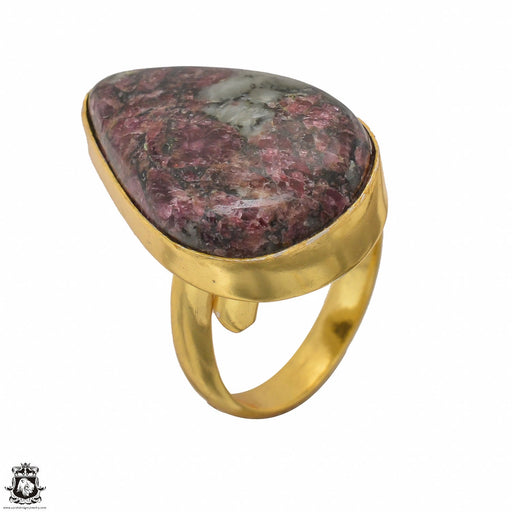 Size 8.5 - Size 10 Adjustable Eudialyte 24K Gold Plated Ring GPR1444