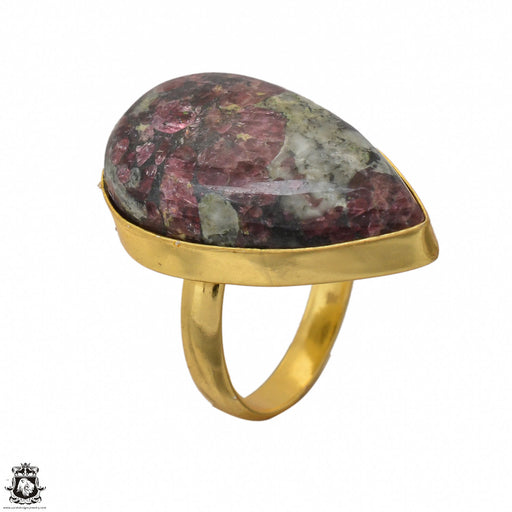 Size 8.5 - Size 10 Adjustable Eudialyte 24K Gold Plated Ring GPR1445