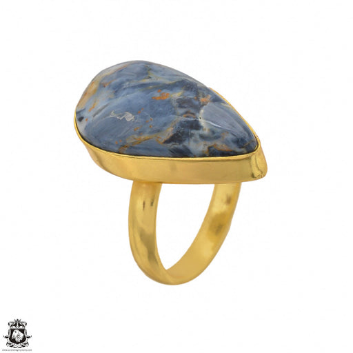 Size 7.5 - Size 9 Adjustable Pietersite 24K Gold Plated Ring GPR1448