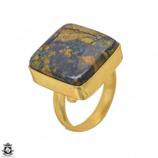 Size 6.5 - Size 8 Adjustable Pietersite 24K Gold Plated Ring GPR1451