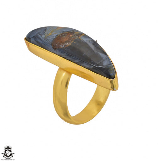 Size 7.5 - Size 9 Adjustable Pietersite 24K Gold Plated Ring GPR1453