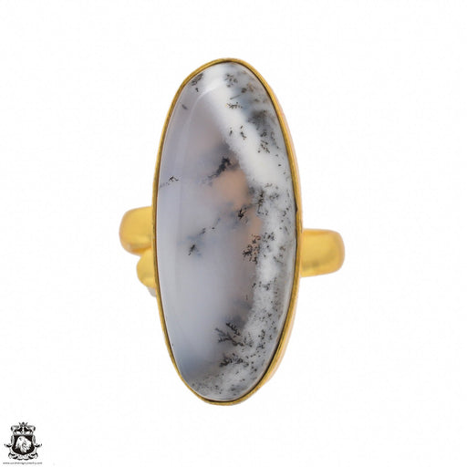 Size 8.5 - Size 10 Adjustable Dendritic Opal Merlinite 24K Gold Plated Ring GPR1478