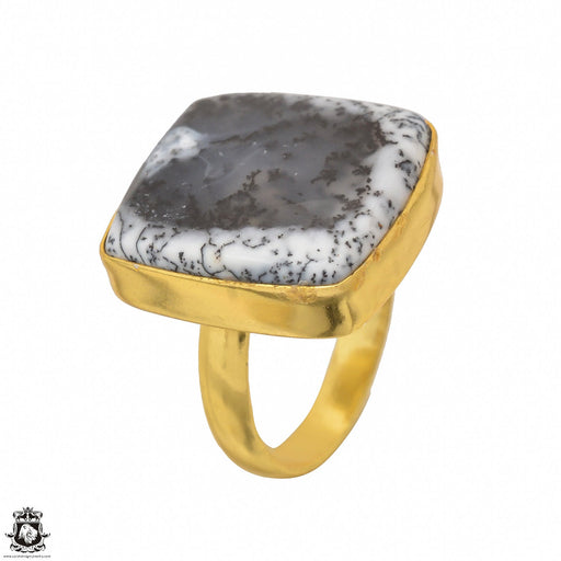 Size 9.5 - Size 11 Adjustable Dendritic Opal Merlinite 24K Gold Plated Ring GPR1480