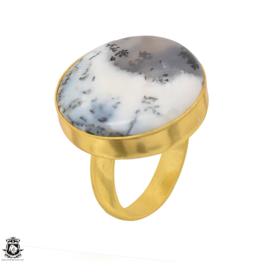 Size 8.5 - Size 10 Adjustable Dendritic Opal Merlinite 24K Gold Plated Ring GPR1483