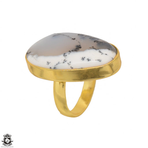 Size 6.5 - Size 8 Adjustable Dendritic Opal Merlinite 24K Gold Plated Ring GPR1486