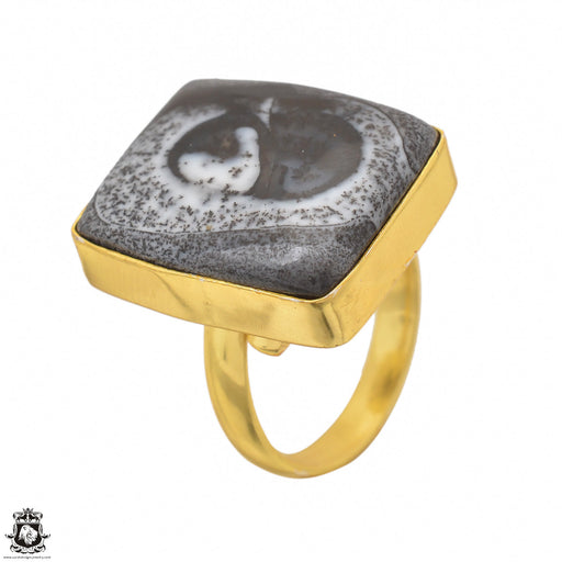 Size 8.5 - Size 10 Adjustable Dendritic Opal Merlinite 24K Gold Plated Ring GPR1489