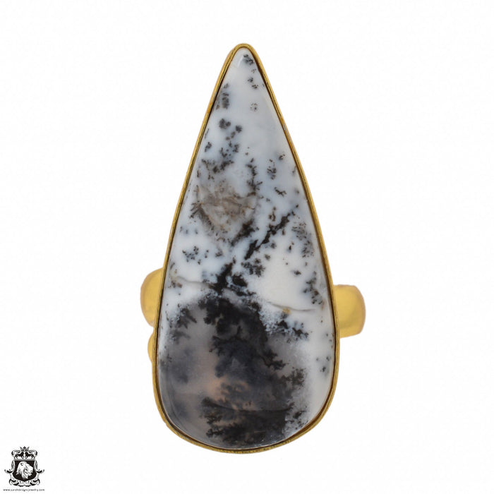 Size 6.5 - Size 8 Adjustable Dendritic Opal Merlinite 24K Gold Plated Ring GPR1495