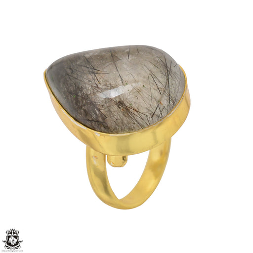 Size 7.5 - Size 9 Adjustable Tourmalated Quartz 24K Gold Plated Ring GPR1501