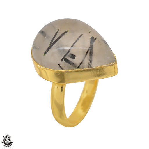 Size 6.5 - Size 8 Adjustable Tourmalated Quartz 24K Gold Plated Ring GPR1504