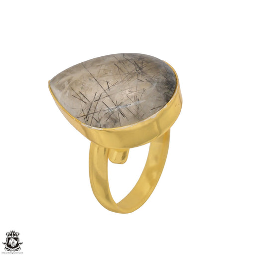 Size 8.5 - Size 10 Adjustable Tourmalated Quartz 24K Gold Plated Ring GPR1505