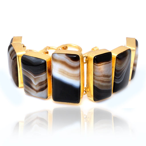 Banded Agate Gold Plated Bracelet GB4