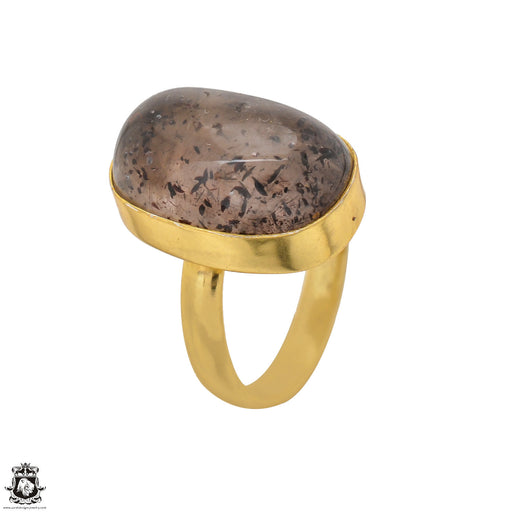 Size 7.5 - Size 9 Adjustable Super 7 Cacoxenite 24K Gold Plated Ring GPR1513