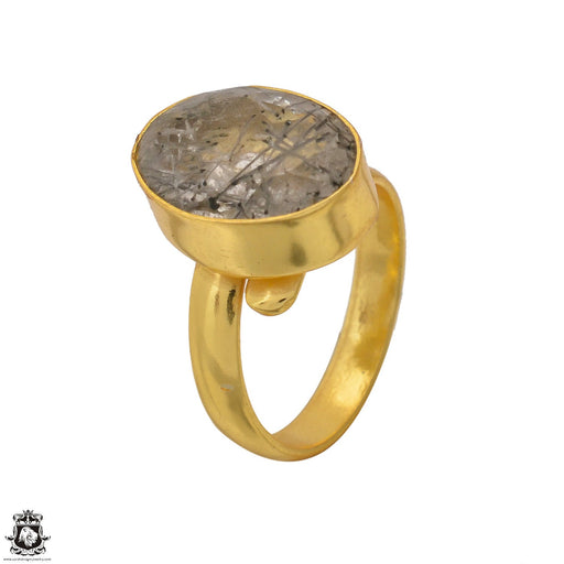 Size 6.5 - Size 8 Adjustable Tourmalated Quartz 24K Gold Plated Ring GPR1550