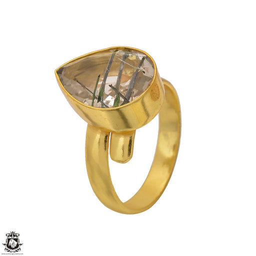 Size 9.5 - Size 11 Adjustable Tourmalated Quartz 24K Gold Plated Ring GPR1555
