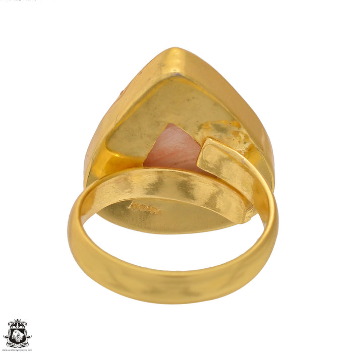 Size 6.5 - Size 8 Adjustable Scolecite 24K Gold Plated Ring GPR1572