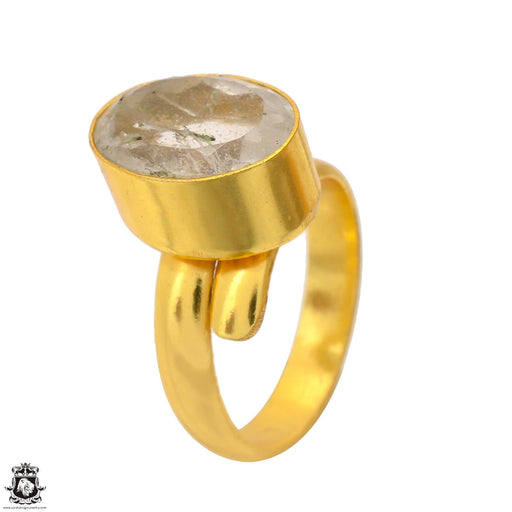 Size 7.5 - Size 9 Adjustable Tourmalated Quartz 24K Gold Plated Ring GPR1693