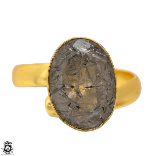 Size 9.5 - Size 11 Adjustable Tourmalated Quartz 24K Gold Plated Ring GPR1695