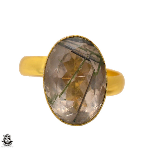 Size 10.5 - Size 12 Adjustable Tourmalated Quartz 24K Gold Plated Ring GPR1696