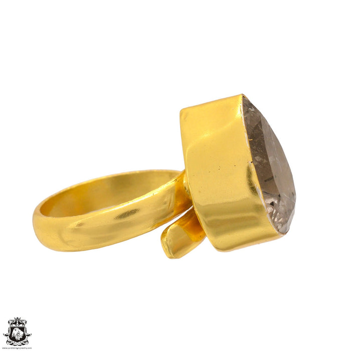 Size 6.5 - Size 8 Adjustable Tourmalated Quartz 24K Gold Plated Ring GPR1697