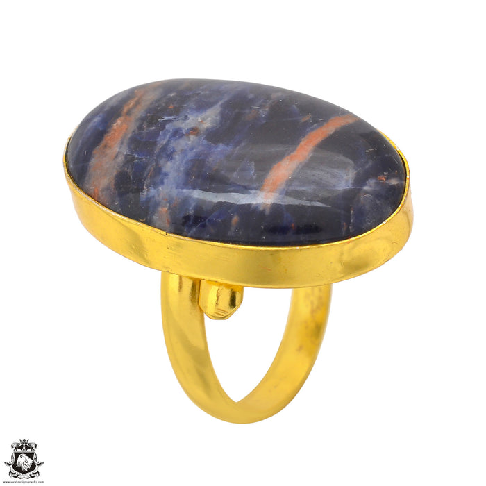 Size 8.5 - Size 10 Adjustable Sodalite 24K Gold Plated Ring GPR1716
