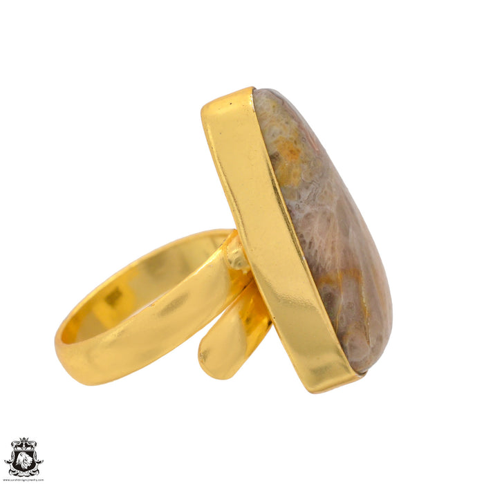 Size 6.5 - Size 8 Adjustable Crazy Lace Agate 24K Gold Plated Ring GPR1726