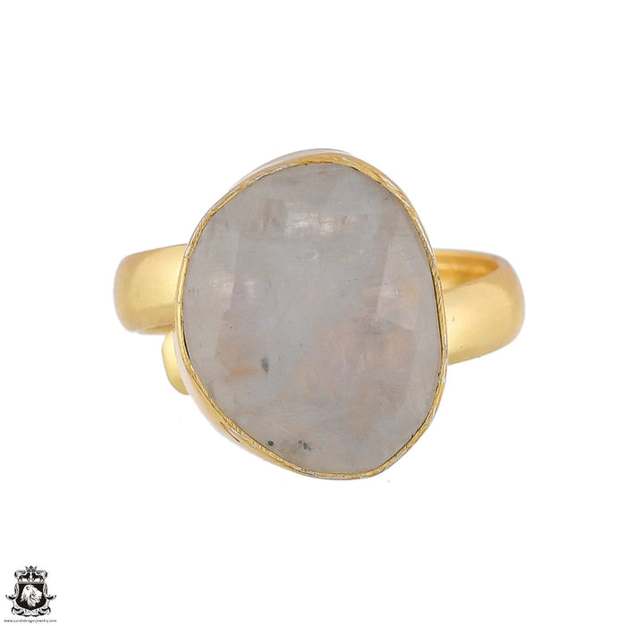 Size 6.5 - Size 8 Adjustable Moonstone 24K Gold Plated Ring GPR1773