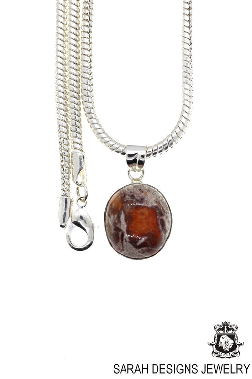 Fire Opal 925 Sterling Silver Pendant 4mm Snake Chain O18