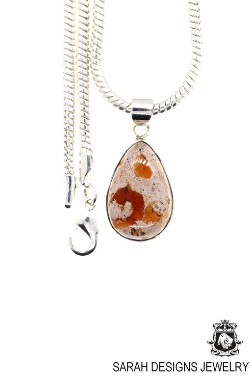 Fire Opal 925 Sterling Silver Pendant 4mm Snake Chain O19