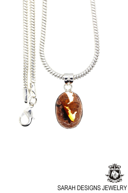 Fire Opal 925 Sterling Silver Pendant 4mm Snake Chain O22