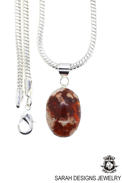 Fire Opal 925 Sterling Silver Pendant 4mm Snake Chain O27